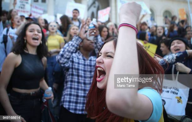 Students participate in a rally for National School Walkout Day to protest school violence on April 20 2018 in Los Angeles California Students from...