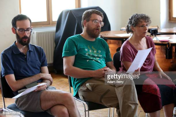 Students participate in a singing workshop during Yiddish Summer Weimar on July 27, 2018 in Weimar, Germany. The annual five-week summer institute...