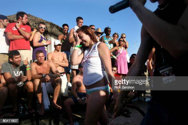 Students participate in a wet tshirt contest at the MTV Beach Bash party put on by Global Groove at the Bahia Mar Hotel during the annual ritual of...