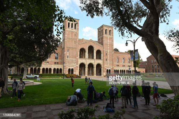 Students participate in an activity near Royce Hall on the campus of University of California at Los Angeles in Los Angeles, California on March 11,...