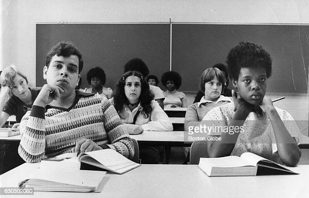 Students participate in health class in an integrated classroom at English High School in Boston Mass on Sept 13 the second day of school under the...