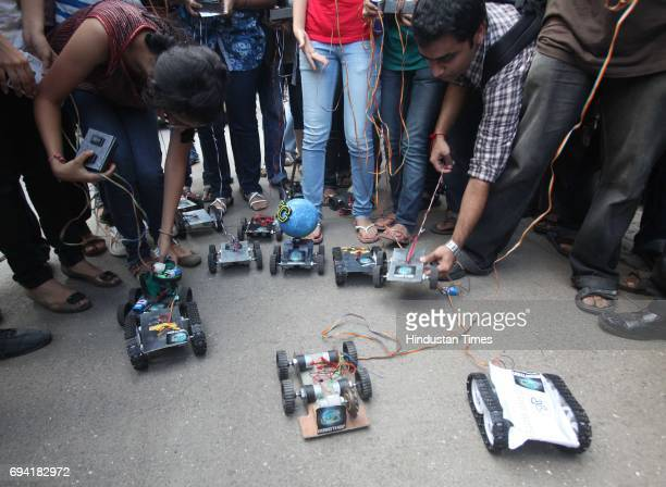 Students participate in 'Robothon' a unique race of Robots manufactured by students of Sanghvi College of Engineering themselves at Juhu