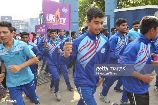 Students participated in the Run for Unity organized to mark the birth anniversary of Sardar Vallabhbhai Patel on October 31 2017 in Bhopal India The...