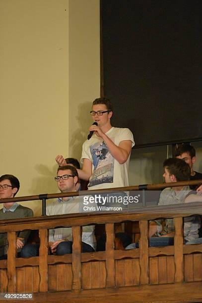 Students participating in a debate at The Cambridge Union on October 15 2015 in Cambridge United Kingdom The Cambridge Union were dabting 'This House...