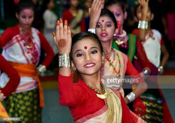 Students participating on dance competition in the occasion of 35th Abhiruchi Sports Day at Nehru Stadium Guwahati Assam India on Sunday 9 September...