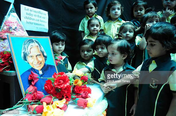 Students paying tribute to former President APJ Abdul Kalam during a special prayer session organised by St Joseph`s coed school on July 28 2015 in...