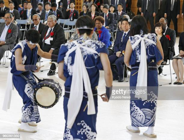 Students perform a traditional dance for participants in the Pacific island leaders' meeting during an event on May 18 at Iwakikaisei High School in...