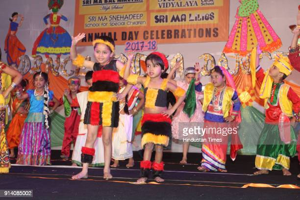 Students perform during an Annual day of Shri Maa School GB road Thane on February 2 2018 in Mumbai India Students performed folk dance prayers Koli...