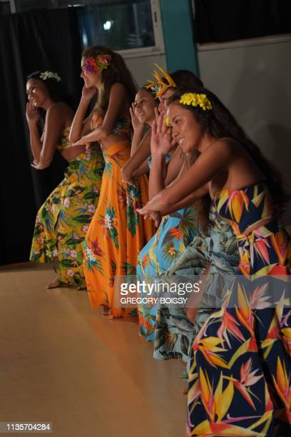 Students perform during the Tahitian dance examination as part of the baccalaureat on May 18 2018 in the auditorium of the Samuel Raapoto high school...