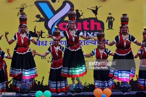 Students perform during 'Youth Festival' Thane Traffic awareness campaign organized by Thane traffic dept at Dadaji Kondadev Stadium on February 1...