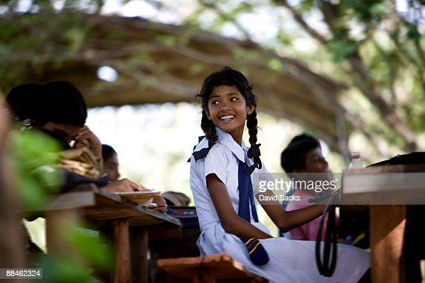 students - sri lankan school girls stock photos and pictures