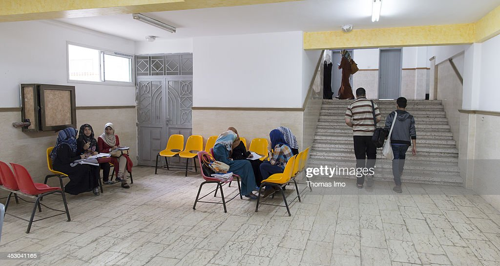 Students pictured in the foyer of the Al-Azhar University on November 06, 2013 in Gaza City, The Palestinian Territories.
