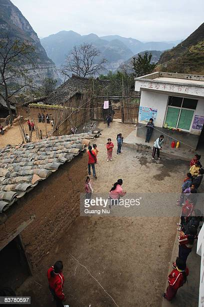 Students play a game at their school in village of Gulucan on November 19 2008 in Hanyuan county Sichuan province China More than 60 farmers'...
