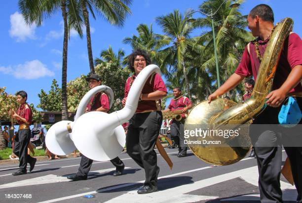 CONTENT] Students playing at the Flower Parade in Oahu during the Aloha Festivals Aloha Festivals celebrate Hawaiians culture music dance history and...
