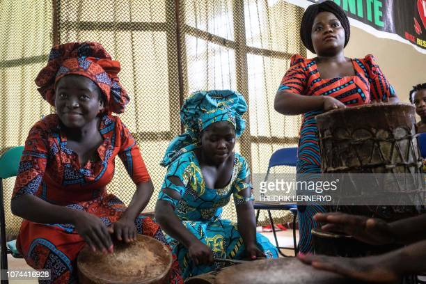 Students playing drums during their graduation party from the City of Joy in Bukavu on December 19 2018 The City of Joy in Bukavu welcomes 180 women...