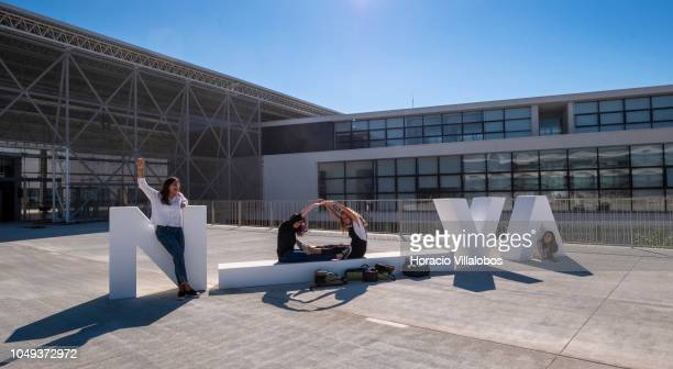 Students pose forming the letter O in NOVA logo at NOVA School of Business and Economics new campus on October 04 2018 in Carcavelos Portugal Nova...