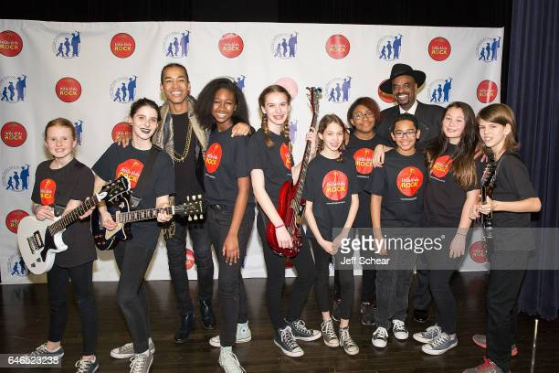 Students pose with Sir The Baptist and Nick Colionne at Chicago Public School Announces Music Program Expansion With Little Kids Rock at Franklin...
