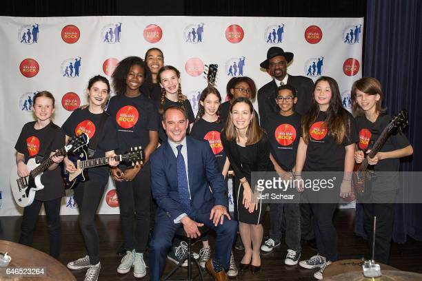 Students pose with Sir the Baptist Kurt Jones Anne Gray and Nick Colionne at Chicago Public School Announces Music Program Expansion With Little Kids...