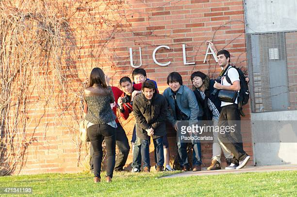 ucla students posing and taking photographs - westwood neighborhood los angeles stock pictures, royalty-free photos & images