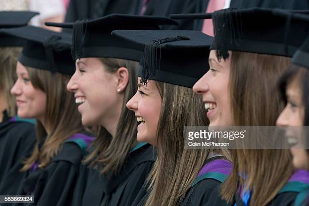 Students posing for celebration photographs after a graduation ceremony at Edge Hill University Ormskirk Lancashire Edge Hill University was founded...