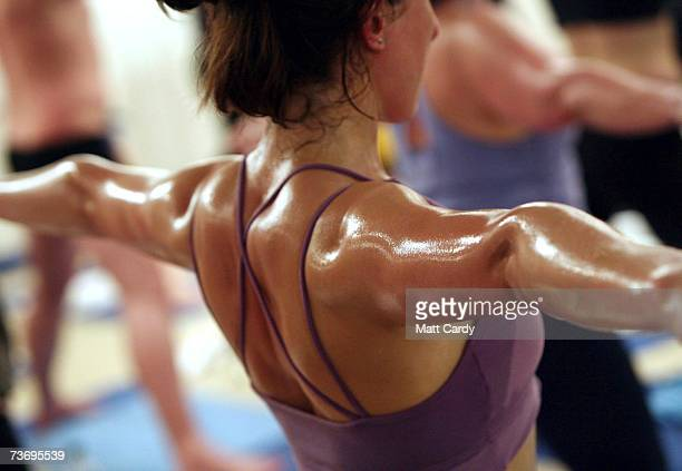 Students practice the unique Bikram Yoga at the City Studio, on March 13, 2007 in London, England. The Bikram Yoga, also known as Hot Yoga, is a...