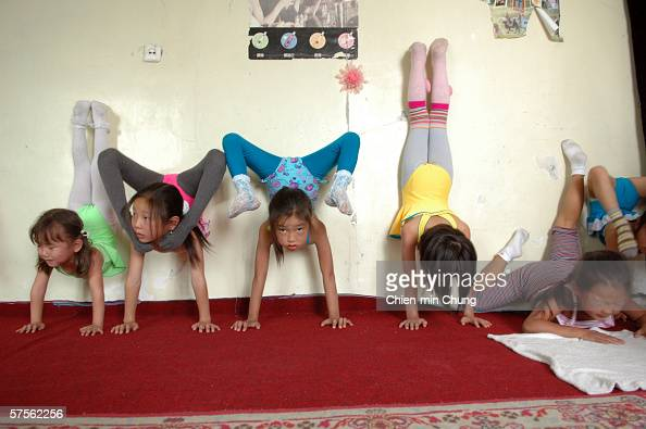 Stretching at the contortionist school in the Mongolian