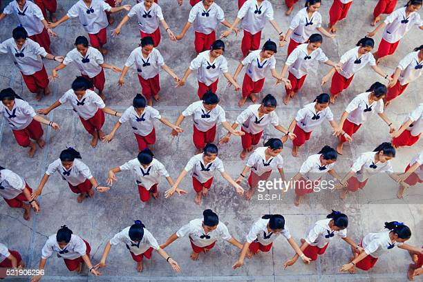 Students Practicing Traditional Thai Dance