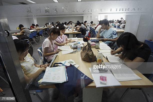 Students prepare for the imminent National College Entrance Examination on June 5 2006 in Suzhou Jiangsu province China With the annual National...