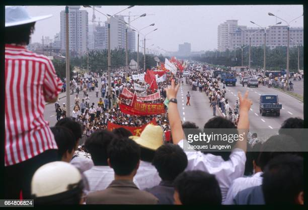 Students prepare to end their unsuccessful hunger strike which lasted for 15 days in Beijing's Tiananmen Square In the spring of 1989 students and...