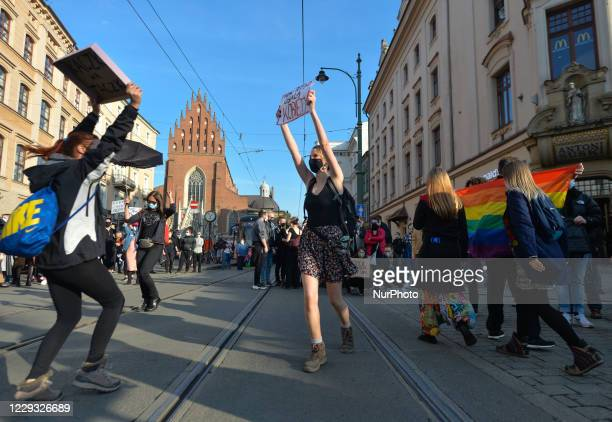 Students, Pro-Choice activists and their supporters, seen during a protest in Krakow's Market Square. Women's rights activists and their supporters...