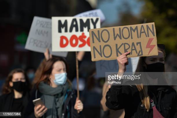 Students, Pro-Choice supporters, seen during their protest in Krakow's city center. Women's rights activists and their supporters staged their...