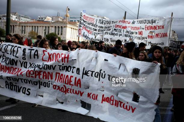 Students protest against fascism in Athens Greece on November 29 2018 opposed to a call by nationalist groups in Thessaloniki concerning the countrys...