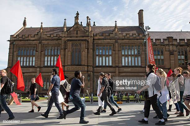 Students protest against funding cuts to higher education at Sydney University on May 11, 2016 in Sydney, Australia. The protests soon turned...