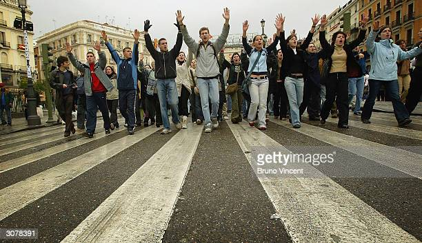 Students protest against the Basque separatist group ETA in Plaza Puerta Del Sol on March 12 2004 in central Madrid Spain At least 198 people were...