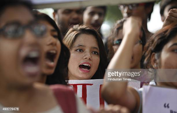 Students protest against the Delhi Police over the recent horrific twin rape cases of minors in the national capital at Police Headquarters on...