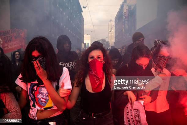 Students protest as they take part in 'No Salvini Day' on November 16 2018 in Milan Italy The demonstrators marched against the Italian Interior...