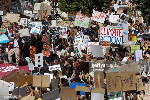 Students protest in Auckland's Aotea Square over climate change on March 15 2019 in Auckland New Zealand The protests are part of a global climate...