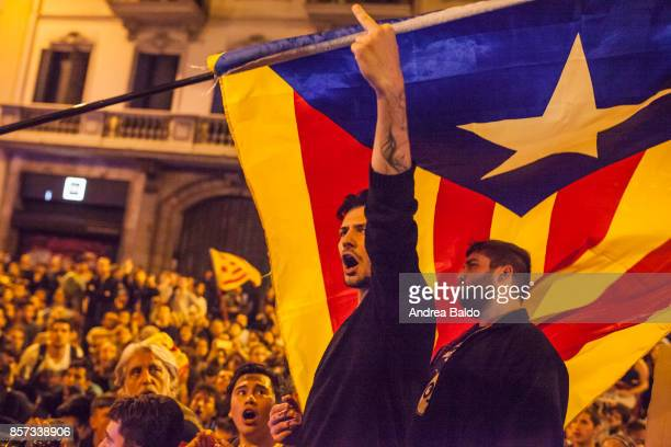 VIA LAYETANA BARCELONA CATALONIA SPAIN Students protest in Barcelona on October 2nd 2017 shouting at the national Police Policia Nacional who had...