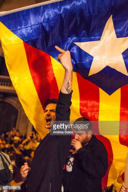GRACIA BARCELONA CATALONIA SPAIN Students protest in Barcelona on October 2nd 2017 shouting at the national Police 'Policia Nacional' who had been...