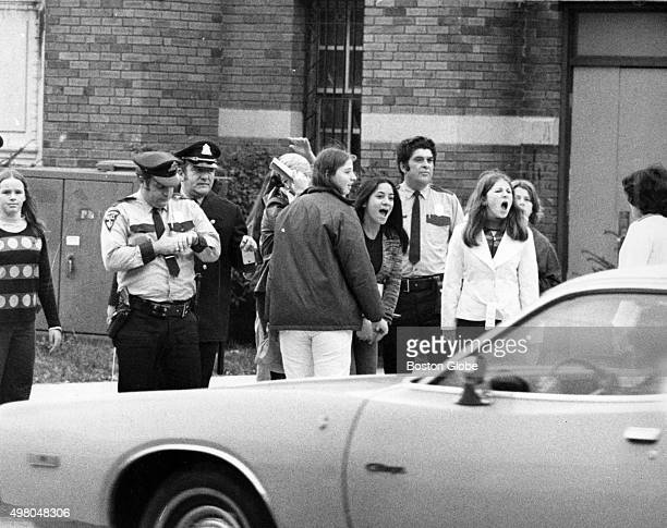 Students protest outside South Boston High School in Boston on Oct 22 1975 An initiative to desegregate Boston Public Schools was implemented in the...