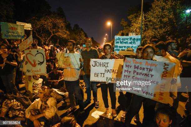 JNU students protest over the issue of compulsory attendance and other issues on March 24 2018 in New Delhi India A large number of JNU students and...
