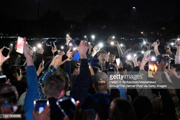 Students protesting the media and politicians brought their vigil outside of Highlands Ranch High to honor their fallen friend Kendrick Castillo by...