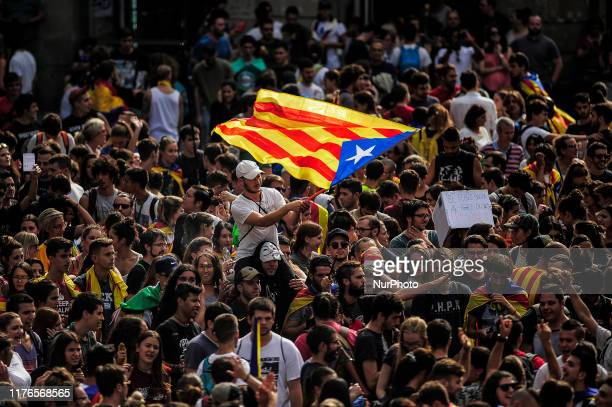 Students protesting with Catalonia independence flags, during the Catalonia general strike, on October 18, 2019 in Barcelona, Spain.