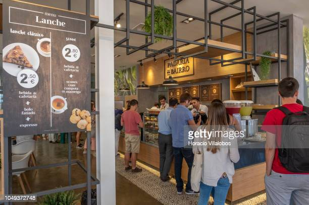 Students queue to buy food at Padaria do Bairro during lunch break at NOVA School of Business and Economics new campus on October 04 2018 in...