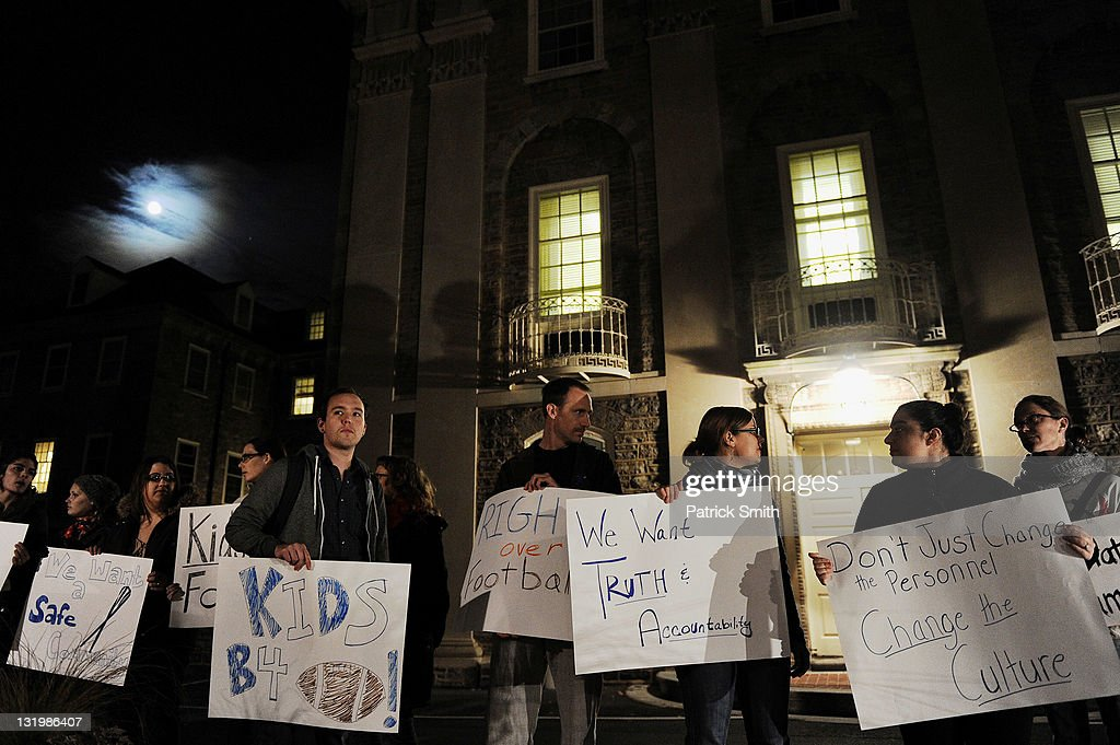 Students rally in protest outside the administration building on the campus of Penn State on November 9, 2011 in State College, Pennsylvania.
