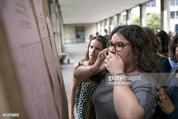 Students react after viewing the results of the baccalaureat exam on July 4, 2014 at the Claude Monet high school in Paris. Some 686.907 candidates...