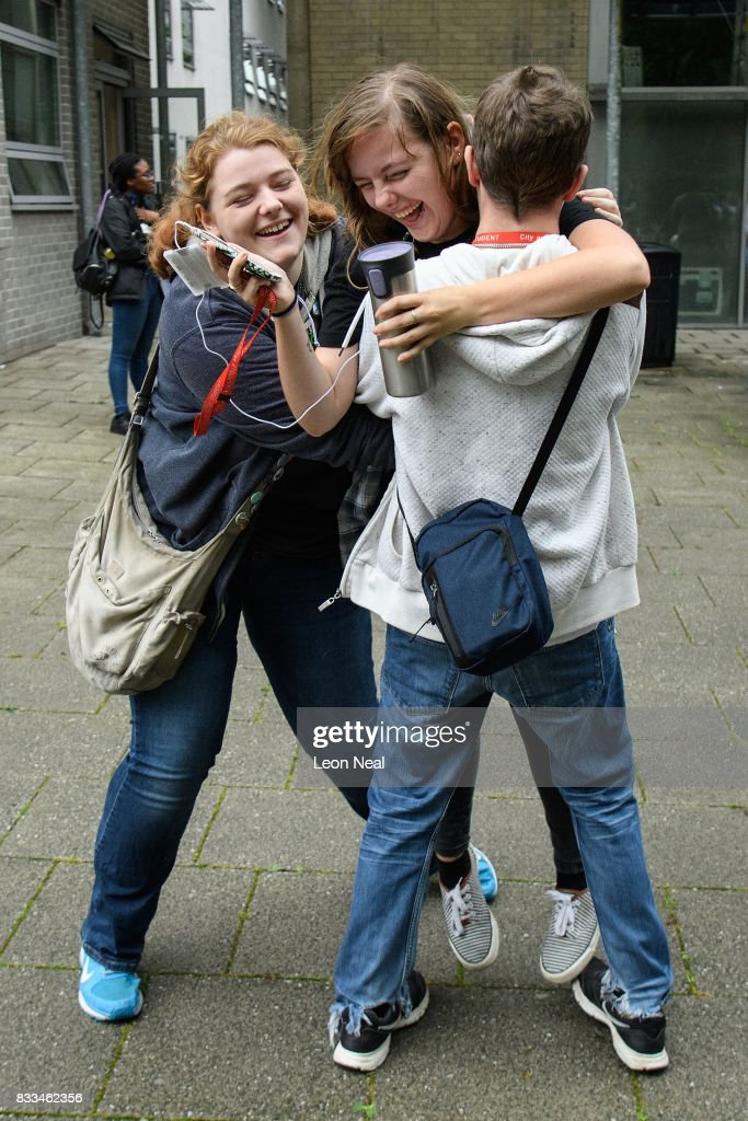 Students react as they receive their A level results at City and Islington College on August 17, 2017 in London, England. The number of students receiving the highest grades of A and A* grades has increased for the first time in six years.