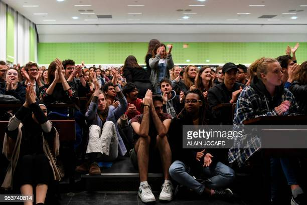 Students react during a general assembly in Nanterre University west of Paris on May 2 2018 Students of Nanterre University voted on May 2 2018 to...