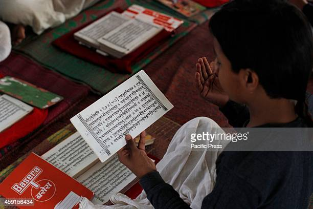 Students read the 'Ved' or Hindu religious holy book at Ved Vidyalaya school in Allahabad