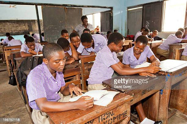 Students reading in a classroom. Accra, Ghana